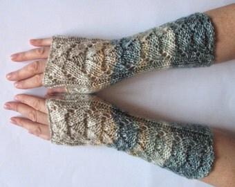 Fingerless Gloves Mittens Blue Green Beige Milk White Cream Gray Wrist Warmers Knit