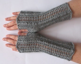 "Fingerless Gloves Gray 9"" Mittens Arm Warmers Acrylic"
