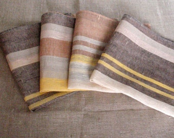 """Linen Napkin Square Rustic Gray Brown Beige in Stripes set of 8 size 18.5"""" x 18.5"""" Classic style"""