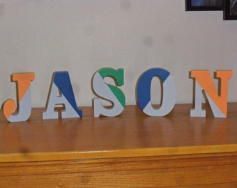 Painted Letters - Wooden Name or Word Painted Table sitter or Wall Hanging
