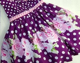 Purple Polka Dot Princess Dress--Size 3/4--Ready to Ship