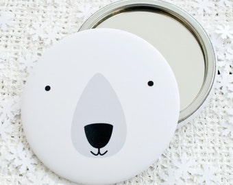 Polar Bear Pocket Mirror or Magnet. Stocking Filler. Christmas Gift. Secret Santa.