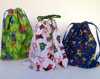 3 Christmas Drawstring Gift Bags Upcycled, Eco-friendly, Sustainable , Lights, Santa and Toys