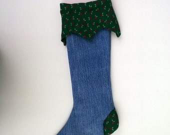 Upcycled Christmas Stocking, Green Print and Denim