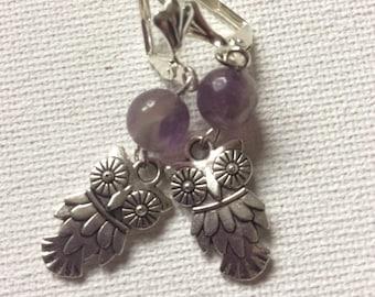 Silver & Amythest Owl Drop Earrings