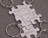 5 Puzzle Piece Keychain Set, Family Keychain Set, Bridesmaid Keychains, Initial Keychains, Set of 5 puzzle piece keychains, Gift for her