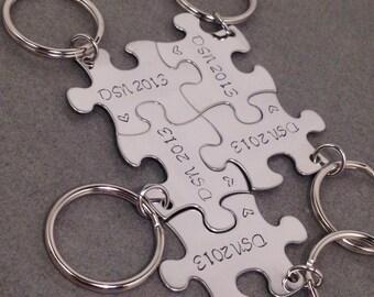 5 Puzzle Piece Keychain Set, Family Keychain Set, Bridesmaid Keychains, Initial Keychains, Set of 5 puzzle piece keychains, Gift for her