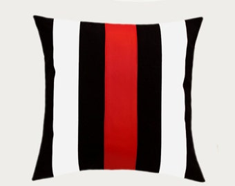 "Decorative Pillow Case, Cotton Black-White Throw pillow case with Red faux leather accent, 16""x16"",  Cushion case, Toss pillow case."