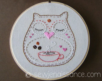 Embroidery Pattern PDF Owl  Coffee Lover