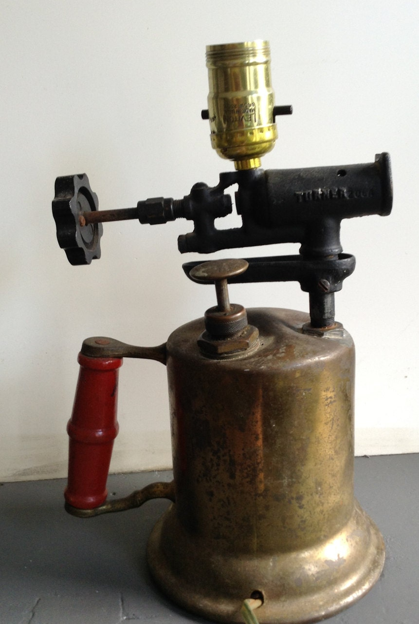 Antique Soldering Torch Repurposed Table Lamp By