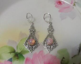 OPAL earrings silver FIRE OPAL earrings Victorian Earrings wedding jewelry pink fire opal harlequin gass bridal accessories