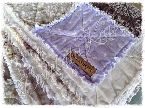 Rag Quilt King Queen Full Twin XL Size Blanket - Purple - Gray - Gold - Brown - Taupe - Lavender - Handmade