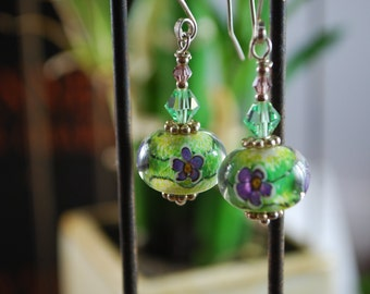 Violet lampwork earrings, silver earrings, violets and silver, flower earrings, green and purple