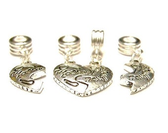 4 Mother Daughter Interlocking  Heart, European Dangle Charms, for Euro Bracelets or as Pendants - Mother's Day