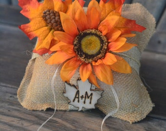 FALL SALE Burlap ring bearer pillow featuring fall leaves and sunflower hand engraved wood leave with bride and groom initials