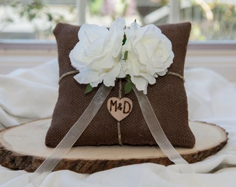 White Rose Brown Burlap Ring bearer pillow You personalize it 10% discount promo code SPRING entire shop
