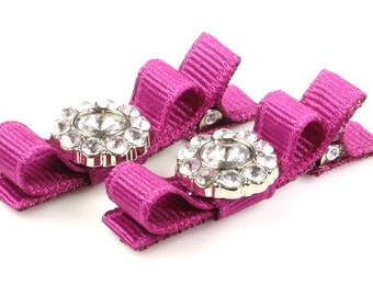 Baby Hair Bows Nr1048, Magenta, Hair Bows, Baby Toddler, Baby Clips, Barrettes, Toddler, Baby Fashion, No Slip Liner, Rhinestone, Hairbow