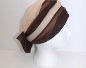 Vintage 60s pink turban ladies hat designer large bow tie detail