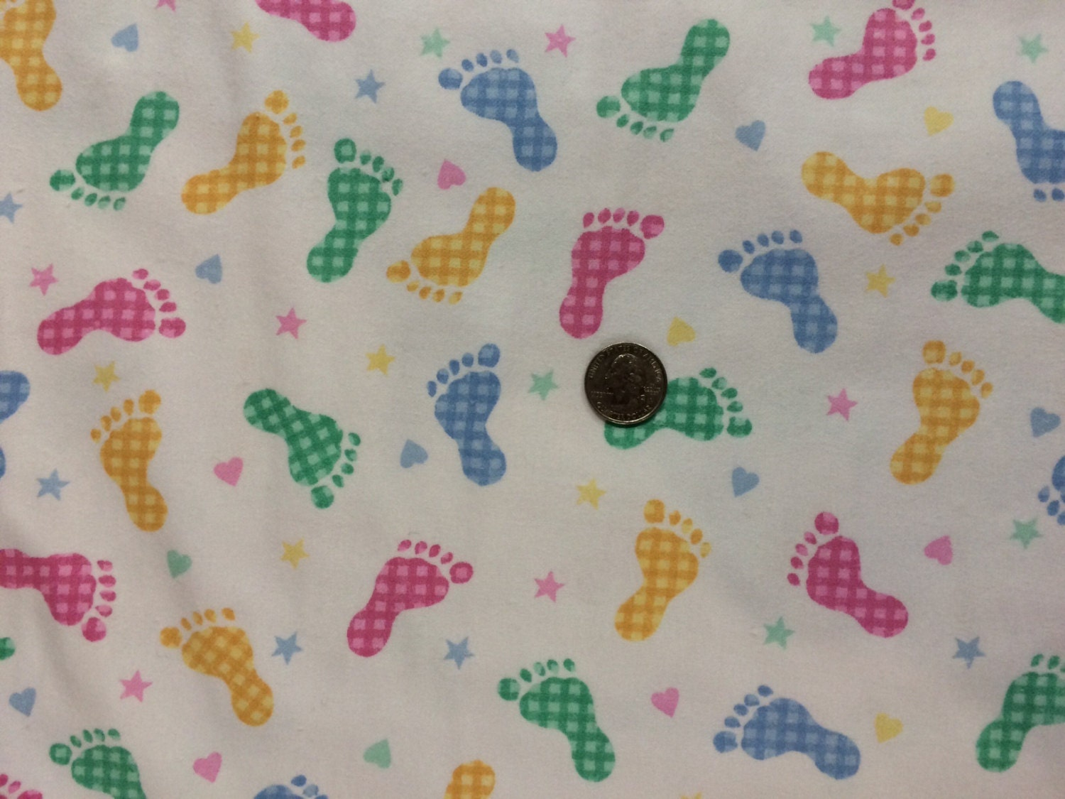 Baby footprints on cotton flannel fabric 1 yard for Baby fabric by the yard