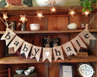 Burlap Baby Bunting, Baby Shower Decoration, Baby Girl Bunting, Baby Boy Banner, Pregnancy Photo Prop, Country Shower Decor, Rustic Bunting