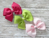 """Hair Bows - YOU PICK SET - Two Loop Pinwheel Bows - 4"""" Half Pinwheel Bows - Solid Bows - Basic Bows - 108 Colors - Set of 3, 4, 6, 10"""