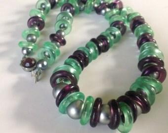 Vintage Green Purple Glass Necklace Retro Feminine Jewelry Fashion Accessory