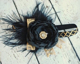 Black and Gold Christmas Headband, Girls headband, Baby Headband, toddler headband, photography prop, Christmas Pictures, Satin Flower
