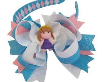 Angel Hair Bows 2Pc 5in Lady Girls Baby Polymer Clay Center Grosgrain Ribbon Disney