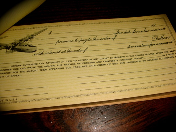 CooL 1940s AIRPLANE WWII Cognovit Note ReCEIPT BooK RaRE WoW vintage airplane