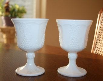 Vintage White Milk Glass Goblets Wine Glasses Stemware Colony Harvest Grape Leaf Pattern Indiana Glass Cottage Romantic Chic Mid Century