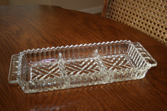 Vintage Clear Cut Crystal Rectangle Relish By Novembermountain