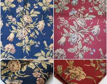 Upholstery floral fabric- Remnant- pc 27x34- in  Navy or Red