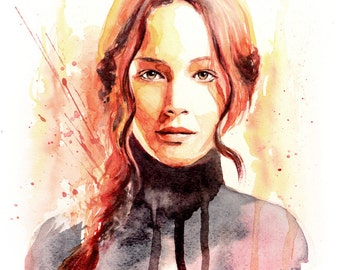 Jennifer Lawrence Watercolor Portrait Art Print