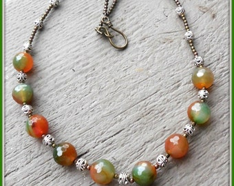 agate beaded necklace, silver, brass, green, amber, orange, gift for her