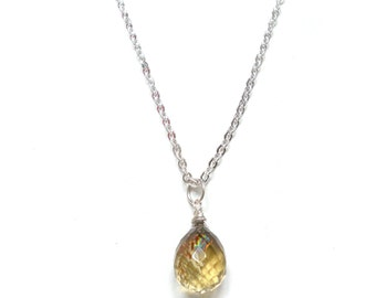 Topaz silver necklace, smokey quartz pendant, gemstone, Mother's Day gift, chakra jewelry, November birthstone