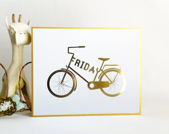 Type a Bike - Personalized Typographic Vintage Bicycle Name Print 8x10 Gold Foil wood mounted modern nursery wall art . children decor