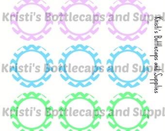 Pastel Chevron Editable Bottlecap Digital Download