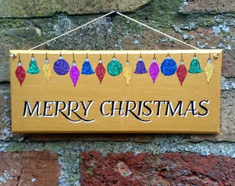 Merry Christmas Hand Painted Decorative Sign Christmas Glitter Baubles Decoration Gold