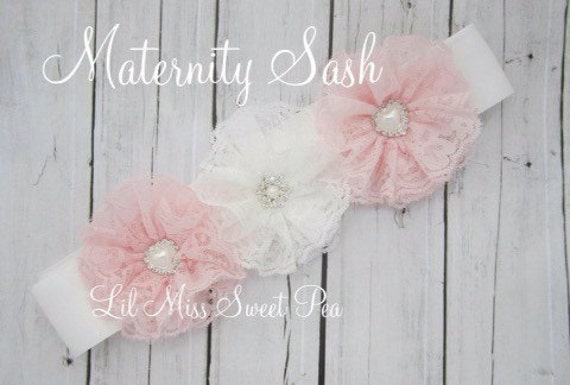 Maternity Sash, Pink and White Lace Flowers on a sash for photo prop for mom & or newborn photo shoot, bebe by Lil Miss Sweet Pea