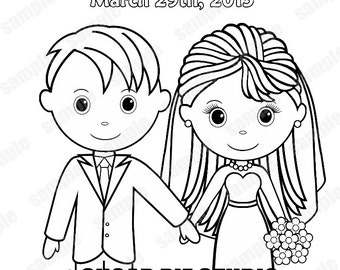 printable personalized wedding coloring activity book favor kids 85 x 11 pdf or jpeg template - Wedding Coloring Books