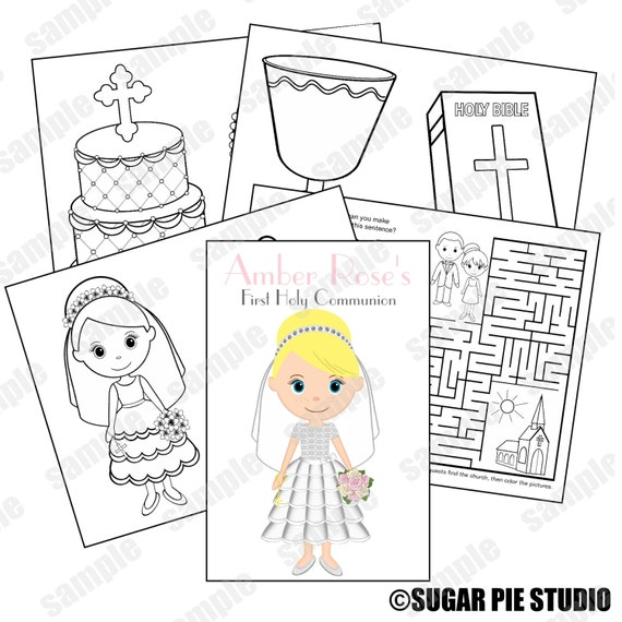 communion for kids coloring pages - printable personalized custom communion favor kids coloring