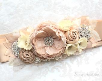 "Beige Champagne Beaded Sash ""Diane"" Bridal Wedding Ribbon Sash/ Handmade Accessory"