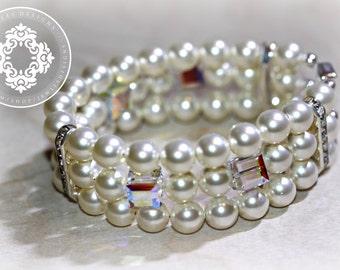 Swarovski 3 strand Swarovski Pearl and Swarovski Crystal, Wedding, Brides, wedding fashion, Bridal Jewellery  by JewlesDesigns on etsy