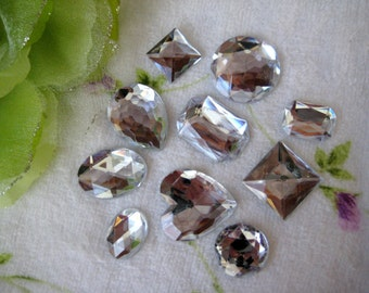 Large Acrylic Rhinestones Silver Color Flat Back, Craft, Embellishment, Art Projects, Party Favor, Invitation Cards - 1oz
