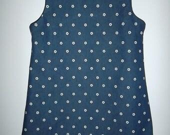 Girls blue denim jumper size 4,5,6,7,8