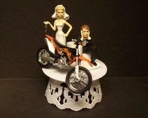 Motorcycle Dirt Bike Bride and Groom W/Die Cast Orange 450 Bike Funny Bike Wedding Cake Topper