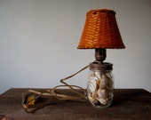 Little Nautical Lamp - Shells in Vintage Mason Jar - Converted to Electric Lamp - Wicker Lamp Shade - Nautica Night Light