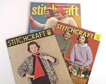 Vintage Stitchcraft Magazines, 3 issues, 50s, 60s, 70s, Knitting & Sewing