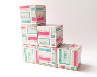 Cool gift for New baby. Wood blocks. Wooden block set. Pink and aqua Eco friendly Stacking toy. Easter. Retro eighties style. Cassette