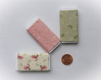 Dollhouse Miniature Set of Three Bolts of Fabric - Cottage Charm Assortment, One inch scale, 1:12 Scale